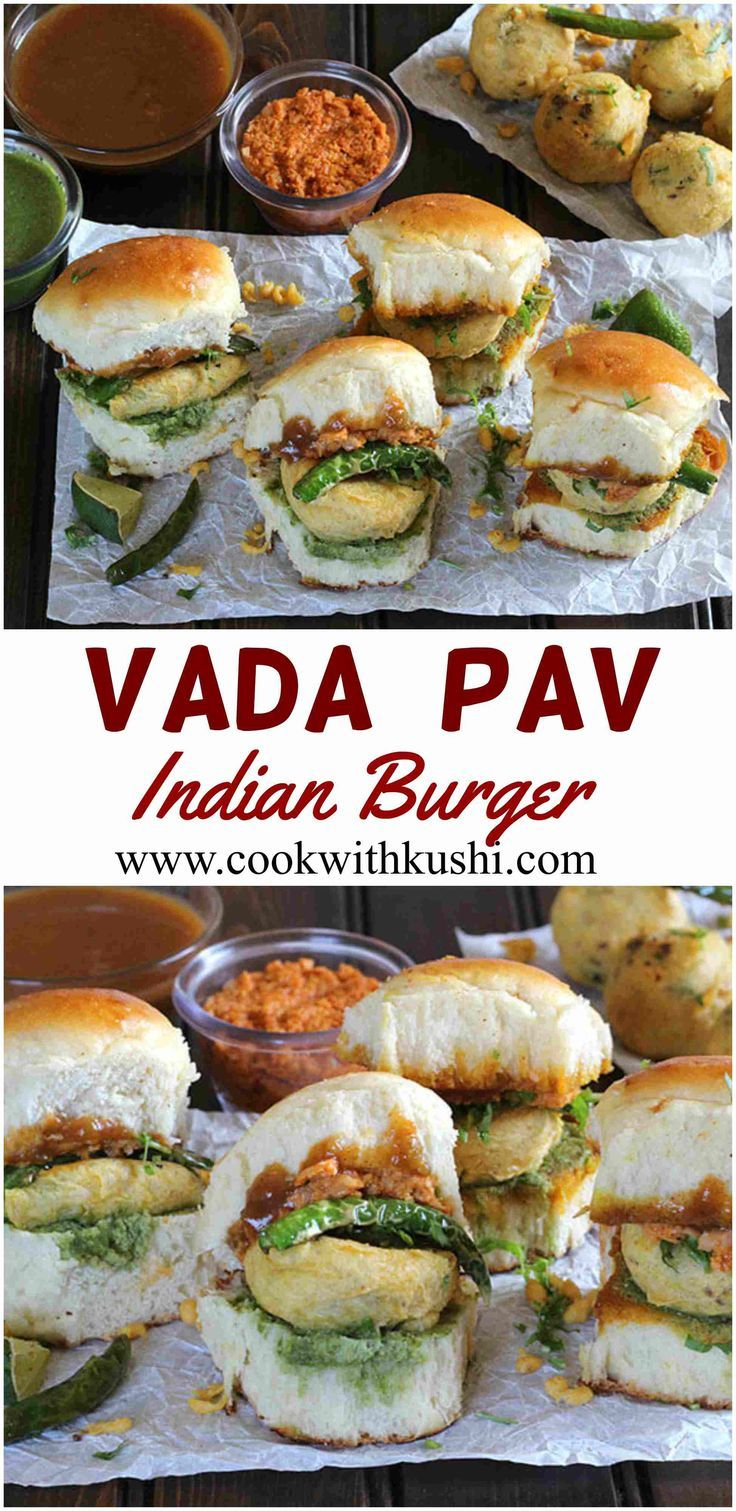 Vada Pav - A very popular Indian street food with an amazing combination of flavors - batata vada or fried potato dumplings are sandwiched between pav or bread rolls with a spread of chutney. Some refer to this snack as Indian burgers. | Cook with Kushi