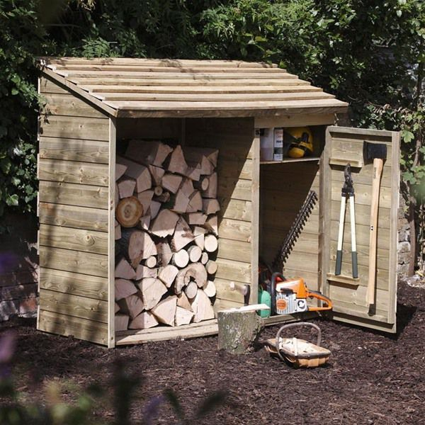 Attractive Forest Garden Wooden Log Store And Tool Storage Shed