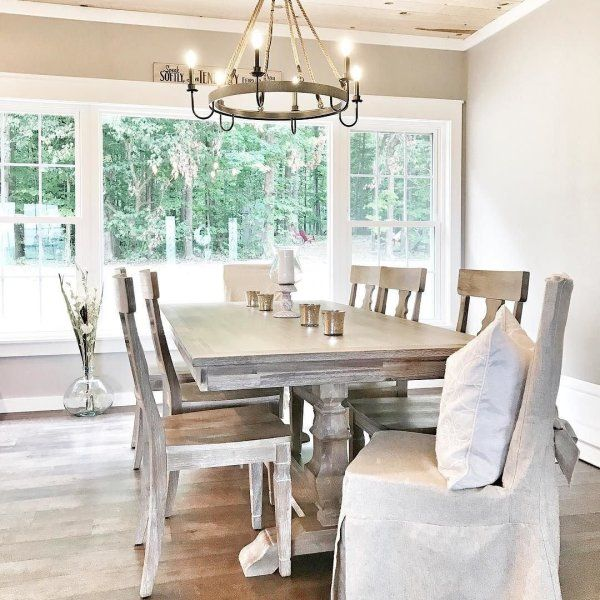 Bradding Shadow Gray 84 Dining Table Coastal Dining Room Grey