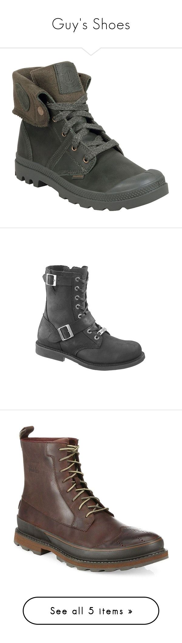 """Guy's Shoes"" by persephone-tbf ❤ liked on Polyvore featuring men's fashion, men's shoes, men's boots, men's work boots, green, mens combat boots, mens lace up boots, palladium mens boots, mens army boots and men's fold over combat boots"