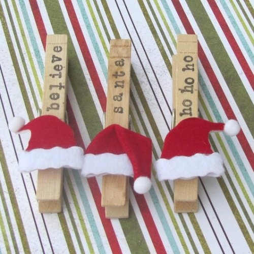 Pinzas muy navideñas. Fácil y divertido.
