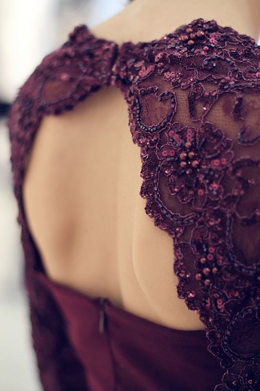 Aubergine dress, beaded details. Beautiful for a color loving bride or bridesmaids!