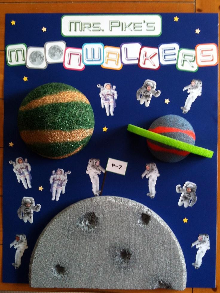 3D Space theme classroom poster--photoshop kids' faces