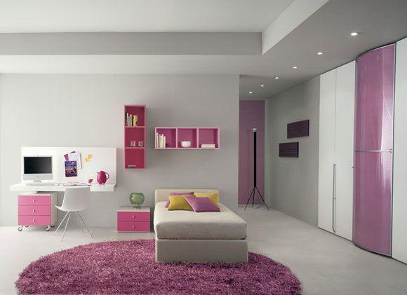 Recamara juvenil para chicas en rosado y gris plomo o for Decoracion dormitorio gris