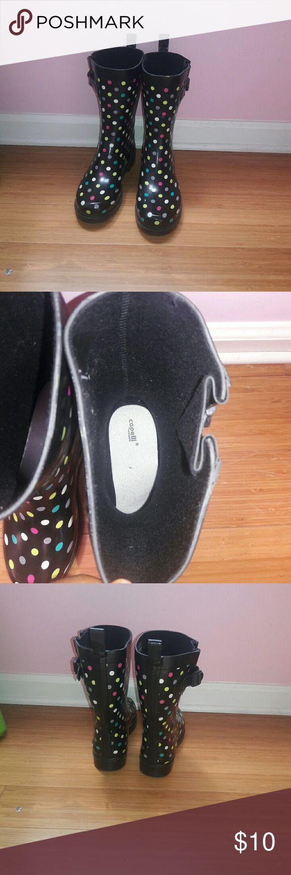 Capelli polka dot rain boots!! Cute multi colored rainboots from Capelli!!! I out grew them and wore them maybe 5 times but there in good condition and they need a new home!!! Capelli of New York Shoes Winter & Rain Boots