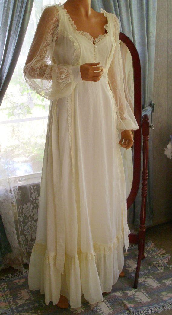 Vintage Prairie Edwardian Style Gunne Sax Dress Ecru in Color Rare Large