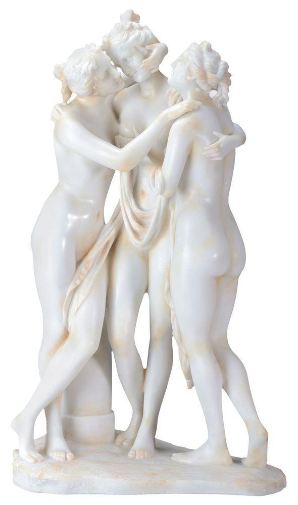 Large Greek Three Graces Statue Aglae Euphosyne Thalia Zeus Daughters Figurine