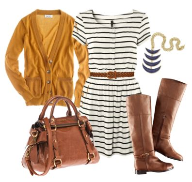 Fall Fashion   http://www.polyvore.com/fall/set?id=35191695Fall Clothing, Fall Outfits, Riding Boots, Fall Fashion, Brown Boots, Mustardyellow, The Dresses, Mustard Cardigans, Mustard Yellow