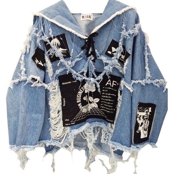 CLUSH DENIM GRUNGE TOPS (wit BLK denim) featuring polyvore fashion clothing tops denim top blue top blk dnm