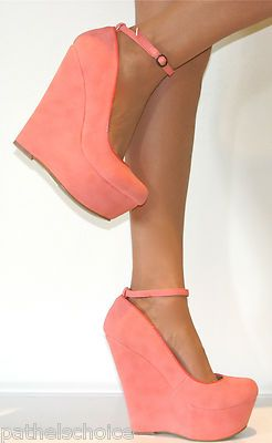 peach heels... I love color heels with wedges. They are so stable and reliable.