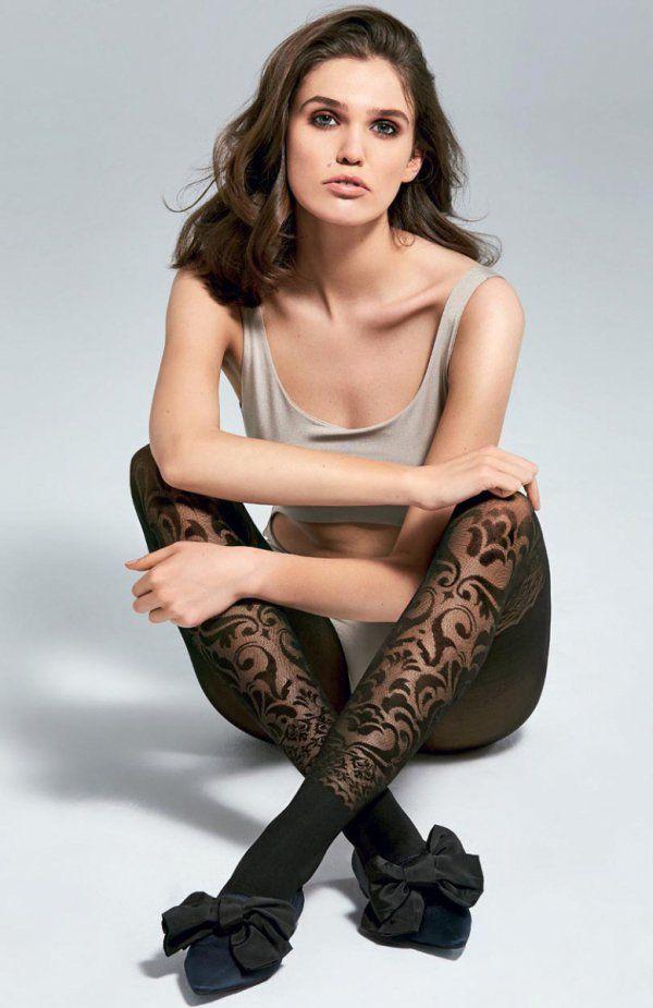 Fiore Couture 40 den rajstopy Rajstopy wzorzyste, półkryjące, matowe, bez wydzielonej części majteczkowej