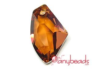 Copper - Austrian Swarovski Crystal Elements 6656 Galactic Vertical Pendant 27mm