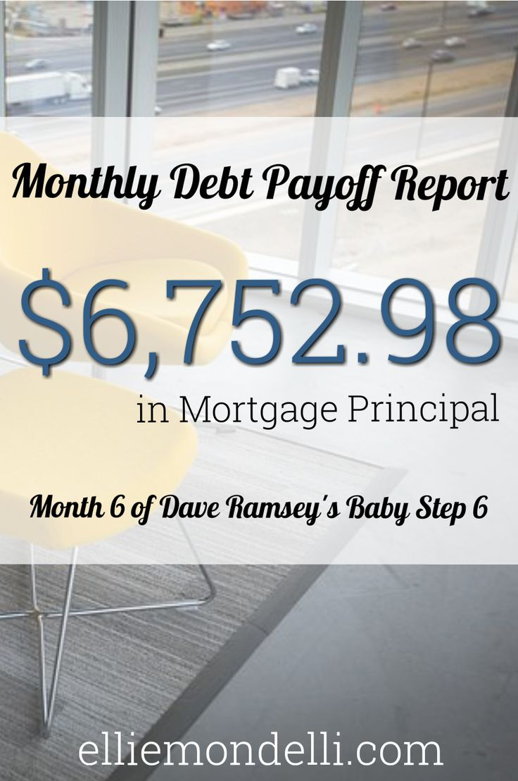 Monthly Debt Payoff Report: $6,752.98 (mortgage principal). Month 6 of Dave Ramsey's Baby Step 6.