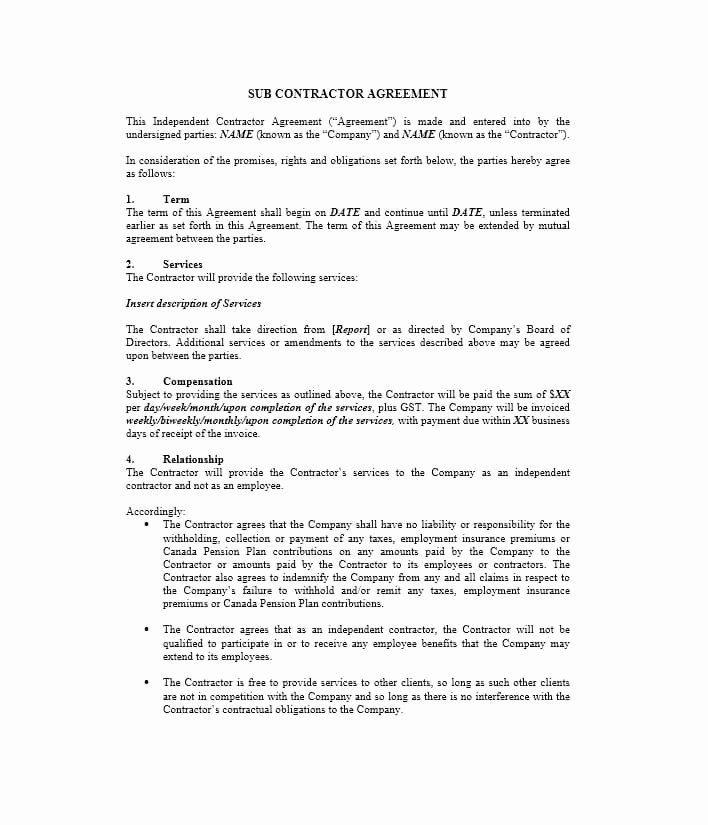 Free Subcontractor Agreement Template Elegant Need A Subcontractor Agreement 39 Free Templates Here Contract Agreement Templates Subcontractors