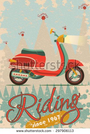 Retro poster design with vintage scooter illustration. Vector scooter, retro, poster, leisure, fun, travel, ride, red, fashioned, vector, sign, symbol, template, orange, summer, old, typography, card, engine, vehicle, bike, moped, wheel, cycle, flyer, transport, gas, motorcycle, motor, cool, design, blue, speed, paper, classic, transportation, hippie, motorbike, banner, antique, trip, vintage, hipster, grunge, silhouette, leaflet, teen, bicycle, vacation