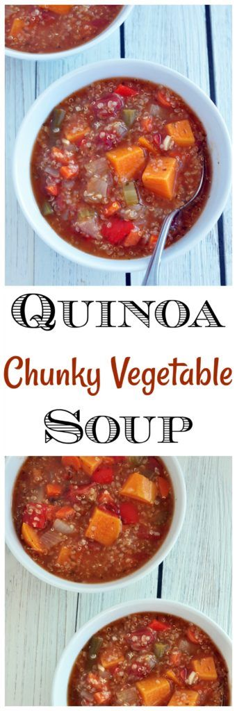 It only takes a few minutes to throw together this quinoa chunky vegetable soup. It's vegan, gluten free and great for meal planning.