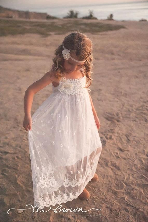 Flower Girl Dress Long Vintage Lace Dance Party Dress birthday Off-white