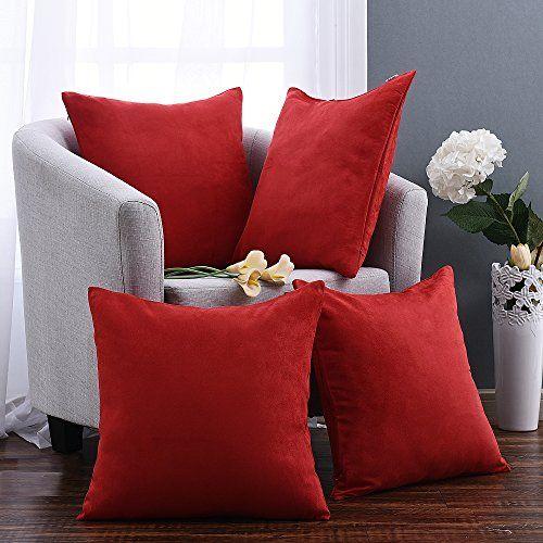 Pony Dance Contemporary Throw Pillow Covers Cushion Shams/Cases Super Soft Pillowcase for Livingroom,Red,18″ x 18″,Set of 4 – Home Decor Deals