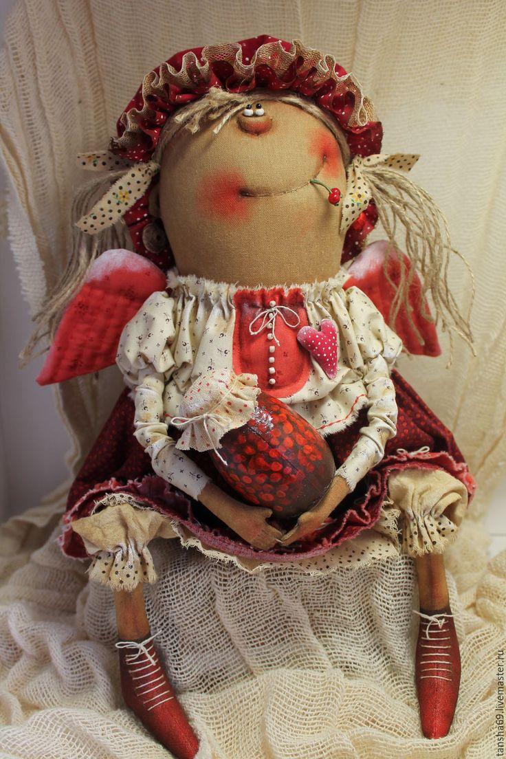 Купить Ангел-сладкоежка - комбинированный, текстильная кукла, ароматизированная кукла, интерьерная кукла, ангелочек, ткань