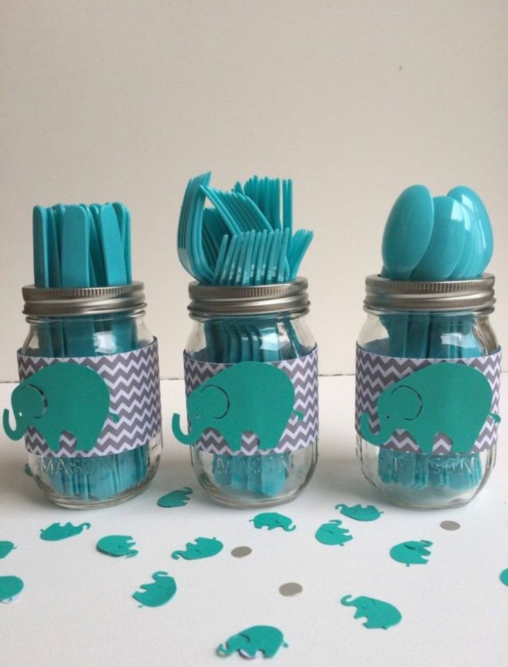 Elephant utensil jars , chevron , babyshower decor