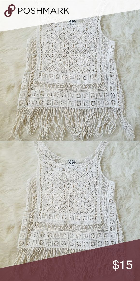 Cream Crochet Fringe Tank Super fun summer tank. It is see through but it's perfect for over a.swim suit or Bralette!  Size: Large Cindition: perfect, no flaws at all.  #crochet #fringe #fringeblouse #boho #bohemian #bohochic #hippiechic #crochettank #tank #summer #summerfun #summerfashion #summerstyle #fashion #style #cheap #styleforcheap #xoxopf Tops Tank Tops