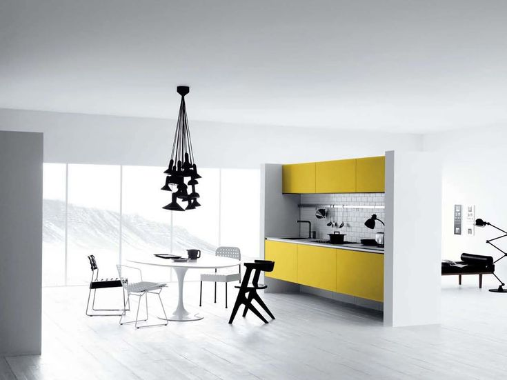 Modern White And Yellow Kitchen Design Furniture Cabinets