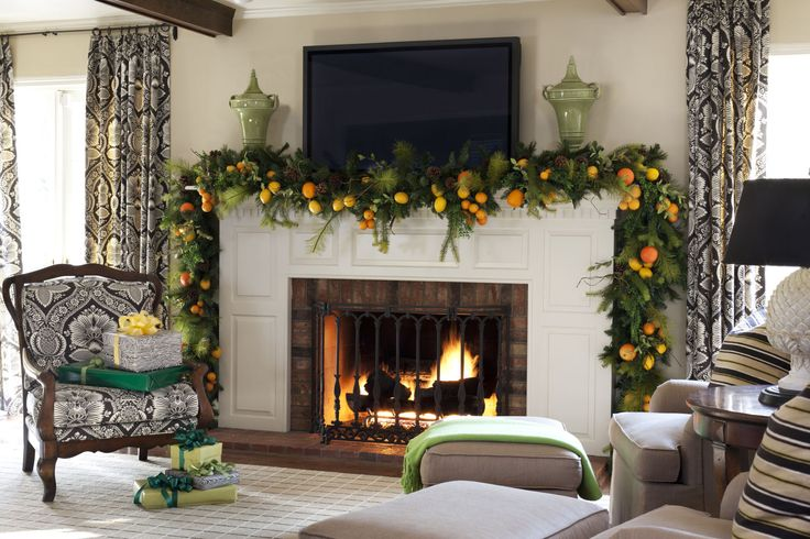 """Christmas Decorating Ideas Designers Swear By: """"Use fresh evergreen boughs, garlands, and wreaths combined with in-season citrus like lemons, tangerines, and oranges. It will give your home a beautiful natural look, and it smells heavenly!"""""""