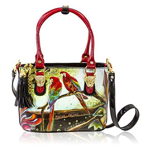 "Measurements 12""/30 1/2 cm width, 8 1/2""/22 cm height, 6""/15 cm depth, strap drop 7 1/2""19"" cm, adjustable crossbody drop 48""/121 cm Hardware, Closure, Inside, Lining Solid Brass 18K Gold-plated, Top Zippered, Three inner zippered comparments, wall zippered pocket, cell phone and slip pocket, Jeweled Signature Fabric Lined, Designer leather logo patch 2015 Marino Orlandi Collection, Registered bag #C4239HP"