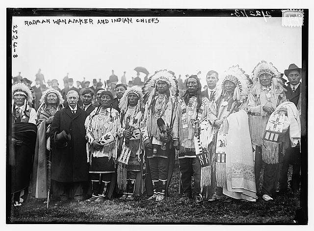 Rodman Wanamaker and Indian Chiefs (LOC) by The Library of Congress, N.Y.  L-R: Wooden Leg (Cheyenne), Two Moons (Cheyenne), Rodman Wanamaker, Plenty Coups (Crow), Medicine Crow (Crow), White Man Runs Him (Crow), Jack Red Cloud (Oglala), unknown (Oglala), unknown (Oglala) - 1913