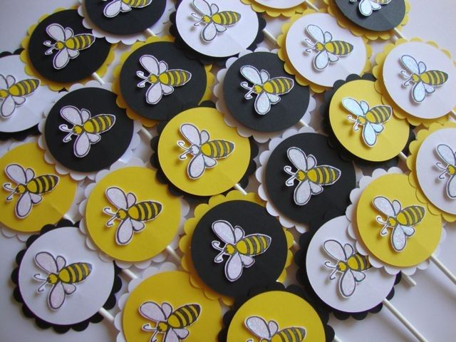 Bumble Bee Cupcake Toppers And Other Party Supplies 1680 Via Etsy