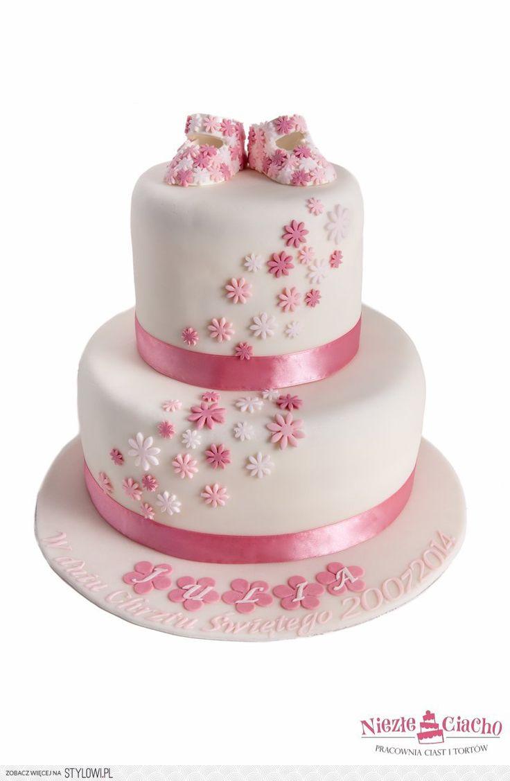 Różowo-biały tort na chrzciny, tort chrzcielny, tort z okazji chrztu św., tort na chrzciny, dziewczynka, przyjęcie z okazji chrztu, butki, buciki na torcie, Tarnów