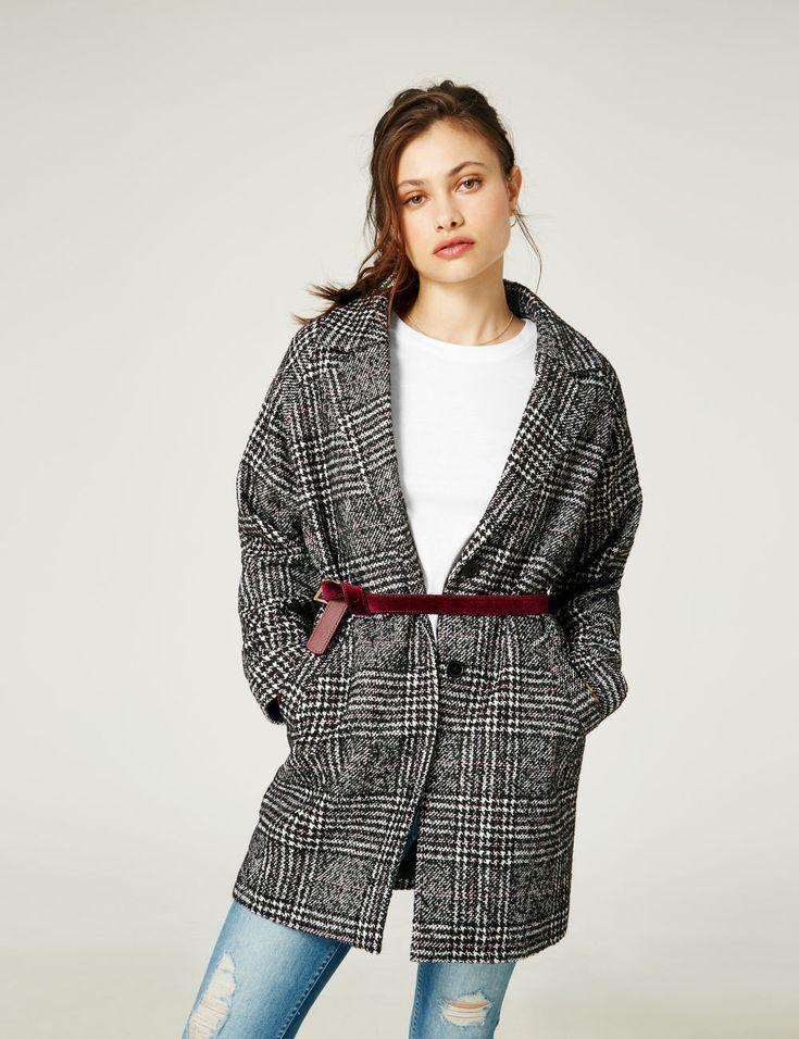 Manteau en lainage jacquard noir et écru femme • Jennyfer