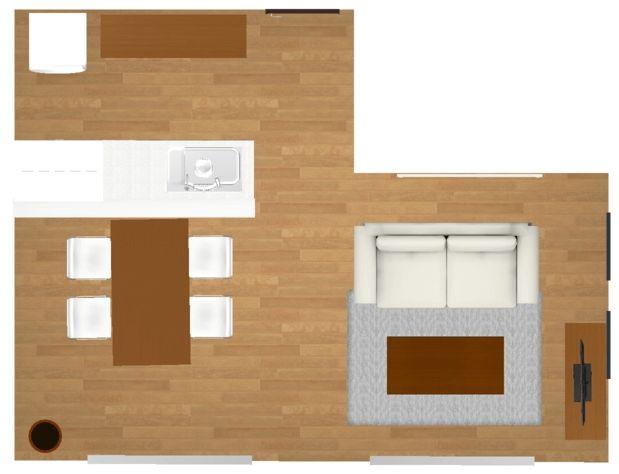 横長リビングダイニングのインテリア、レイアウトパターンと家具配置のポイント10選その7