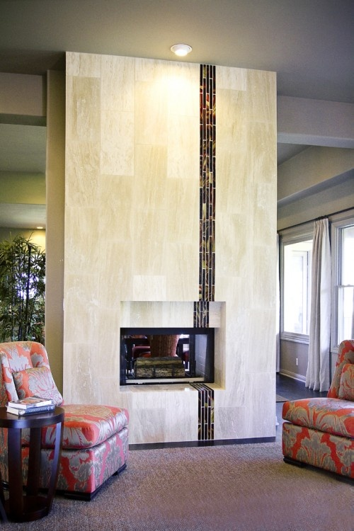 love this tiled fireplace: Interior Design, Allison Jaffe, Idea, Fireplaces, Fireplace Design, Jaffe Interior, Contemporary Living Rooms