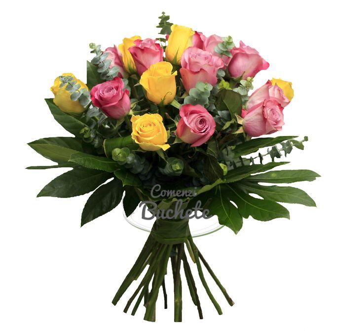 Buchet din 17 trandafiri galbeni si mov. Elegant, unic, incantator.