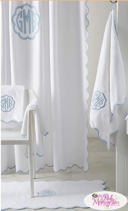 Matouk Monogrammed Le Scallop Shower Curtain  Home & Garden > Bathroom Accessories > Shower Curtains
