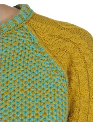 I like the contrast of texture and colors in this sweater