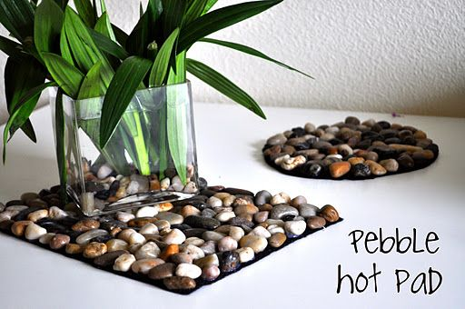 Stone hot pad .. use a bag of Dollar Store pebbles, felt of the shape and size you desire, and hot glue the rocks on. So cute for less than $3