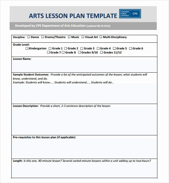 Elementary Lesson Plan Template Word Inspirational Sample Art Lesson Plans Template 7 Free D High School Lesson Plans School Lesson Plans Lesson Plan Templates