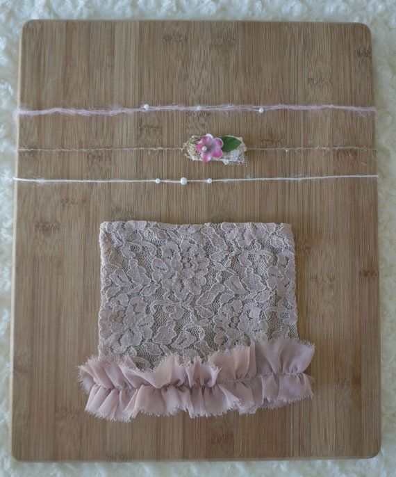 Newborn blush ruffle lace skirt & trio of by JazzCraftBoutique