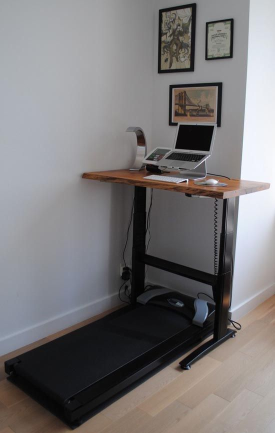 Treadmill desk - parts of this were specially purchased, some homemade.  Going to try to use the idea to refit mine.
