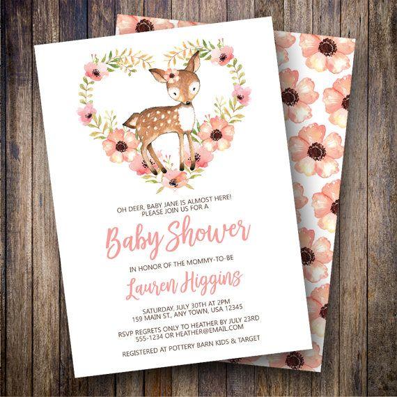 Deer Baby Shower Invitation, Boho Baby Shower, Girl Baby Shower Invite, Watercolor Floral Baby Shower, Woodland, Fawn Shower in Pink, Coral - Spotted Gum Design - Etsy