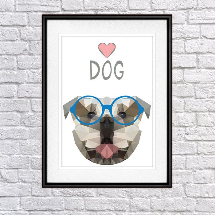 English Bulldog with glasses Digital Poster Print, Wall Decor by PSIAKREW on Etsy