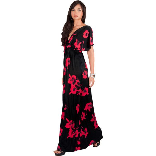Koh Koh AMARYLLIS - Kimono Sleeve Cute Floral Print Maxi Dress (71 CAD) ❤ liked on Polyvore featuring dresses, red, plus size red dress, plus size evening dresses, plus size maxi dresses, plus size special occasion dresses and floral maxi dress