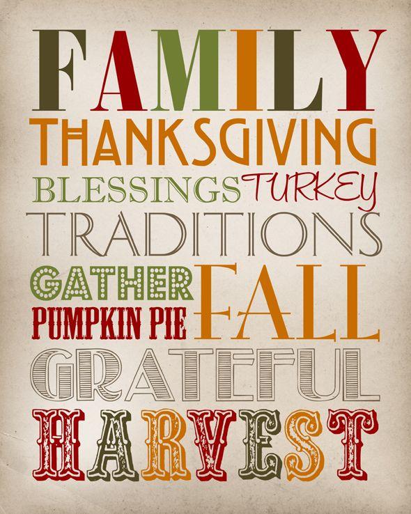 27 Free Thanksgiving Printables #free #thanksgiving #printable #subway #art