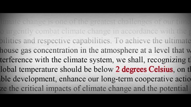 """2014 movie, """"Disruption"""" on climate change; the 2 degree C limit and emissions gap explained"""
