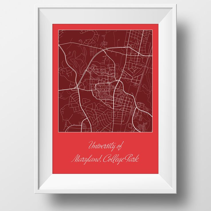 University of Maryland College Park Campus and Area Street Map in College Park Maryland Modern Minimalist Art Print Office Home Wall Decor by JurqStudio on Etsy