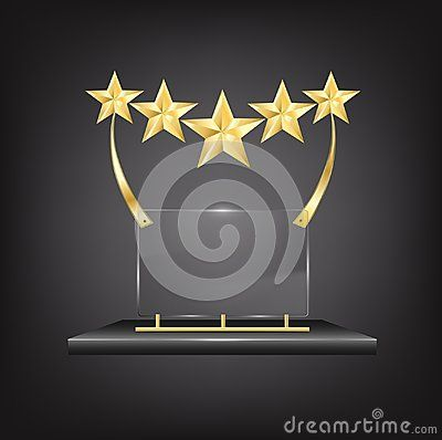 5 Stars Gold Trophy Award with Name Plaques on black metallic stand isolated on black background. Gold star rating with five golden stars representing an award of excellence and luxury as a symbol and concept of competition success and best quality with place to engrave or write the name or prize.
