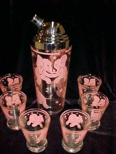 Vintage Hazel Atlas Retro Pink Dancing Elephant Cocktail Shaker 6 Glasses | eBay