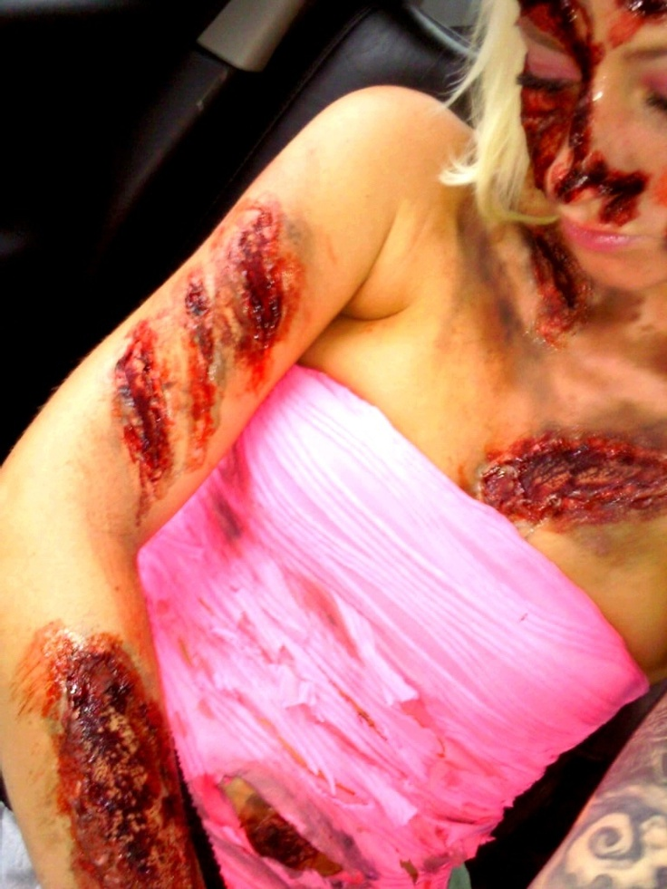All over body wounds...the more gore the better!!  #dropedeadgorgeous #Zombiefashionshow